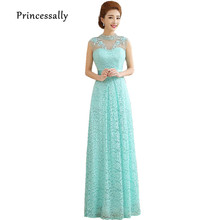 Long Mint Green Lace Bridesmaid Dress High Neck Beading Crystal Embroidery Elegant Prom Party Dress Vestido De Festa Longo(China)