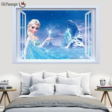 Old Passenger _ Most popular 3d Movie Snow Queen Wall Stickers/Very Cute ice princess wall stickers/For Kids Room Fashion