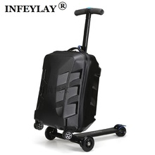 High quality 21 inches boy scooter suitcase trolley case 3D extrusion business Travel cool luggage creative men Boarding box(China)