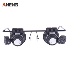 20x led double eye repair magnifier glasses Mini Loupe Lens Magnifying Glas with LED Light Watch Jeweler Microscope(China)