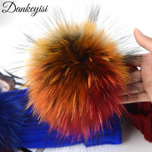 DANKEYISI Real Fur Pompoms 13-14cm DIY Sliver Fox Raccoon Fur Pom Poms Balls Natural Fur Pompon For Hats Bags Shoes Accessories(China)