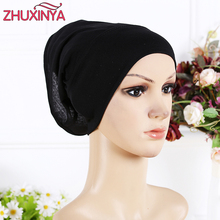 2017 New Arrival Designer Full Cover Inner Muslim Cotton Hijab Cap Islamic Head Wear Hat Underscarf 13 Colors Women Muslims Hat(China)