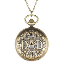 Antique Engraved Dad Watches Quartz Pocket Watches FOB Hollow Fashion Watches with Chain Men Women  For Gift Free Shipping Reloj