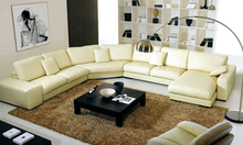Free Shipping 2013 Latest Modern Design Large  L Shaped Genuine Leather sectional Corner modern sofa yellow leather sofa