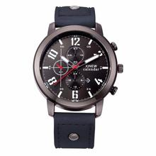 Hot Marketing Hot selling Men's Leather Stainless Steel Sport Analog Quartz Date Wrist Watch Waterproof wholesale Sep16(China)