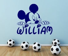 Personalized Name Wall Decal Mickey Mouse Decals Boy Nursery Room Decor DIY Customize Name And Color Vinyl Wall Stickers JW155