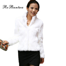 New Arrival Black&White High Quality Fashion Lady Faux Fur Artificial Fur Coat  Elegant Women Full Sleeve Mandarin Collar Coat