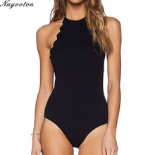 2017 push up new feminino swimwear Halter Top swiming suit one piece swimsuit solid sexy women bathing suit D072 plus size S-4XL
