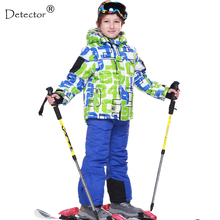 FREE SHIPPING skiing jacket+pant snow suit fur lining -20 DEGREE ski suit kids winter clothing set for boys(China)