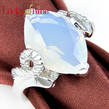 Promotion Family Gift Unique Fire Created Moonstone Silver Plated Wedding Rings Russia USA Holiday Gift Rings Australia Rings