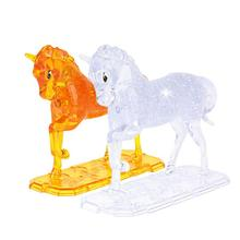 3D DIY Horse Puppy Dog Crystal Jigsaw Puzzles Animal Assembled Model Birthday New Year Gift Children Play Puzzle Toys For Kids(China)