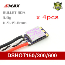 Emax 4 pcs Bullet BLS BLHeli-S 30A FPV RC ESC Electronic Speed Control 2-4S rc Brushless for Brushless Motor Dshot 150/300/600