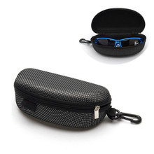 Black Portable Zipper Eye Glasses Sunglasses Clam Shell Hard Case Protector Box Eyeglasses box 17 x 7.7 x 6.2cm Large capacity(China)