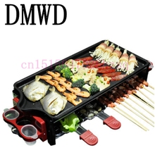 DMWD Electric Grill pan Indoor Barbecue plate Family BBQ Grill Stainless Steel Oven Non-stick Surface Ribbed Grill Style 1200w