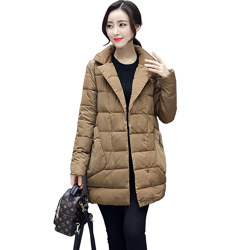 2017 Autumn And Winter Feather Cotton Medium Length And Loose And Comfortable  Down Jackets Tailored Collar Coat Fur Cotton CoatÎäåæäà è àêñåññóàðû<br><br>