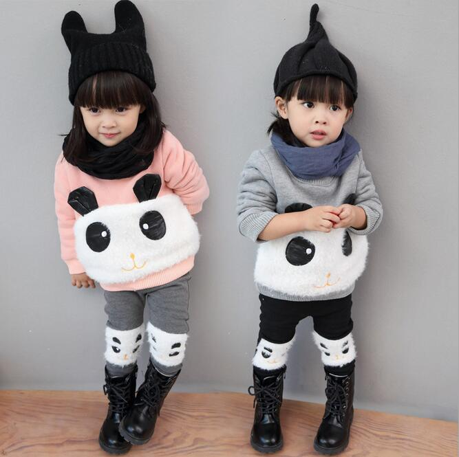 Warm Boutique Kids Clothing Long Sleeve Conjunto Infantil Menina Cartoon Animal O-neck Pullover Sets Winter Overalls For Girls <br><br>Aliexpress