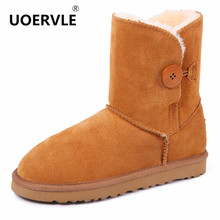 UOERVLE 2017 NEW Brand Women Snow Boots Winter Australia Classic Snow Boots Leather Warm Women wool Shoes Genuine Leather bota