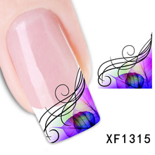1sheets Fashion Tattoos Stickers Beauty Watermark French Nail Art Decals Tips Stamping Salon Water Transfer Decals XF1315