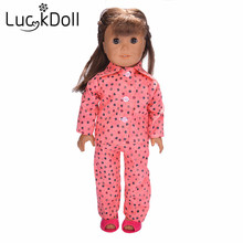 lucky doll Cute handmade star pattern pajamas for 18inch American girl doll accessories kids best gift n540