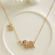 Cute Alloy Elephant Family Stroll Design Chocker Necklace Fashion Women Ethnic Charming Crystal Chain Necklaces & Pendants