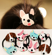 Free Shipping new 2pcs young women lovely Cartoon cat rubber with ball hair bands girl's cute dog Hair rope headwear gum