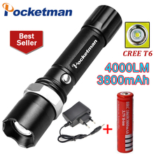 powerful led flashlight cree XML T6 torch Flashlight led lantern lamp Hiking Camping Waterproof Rechargeable flash light(China)