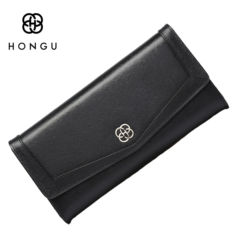 HONGU Luxury Brand Rfid Leather Wallets Long Fashion British Lady Clutch Purse 3 Fold With Zipper Pocket Cash Credit Card Wallet<br>