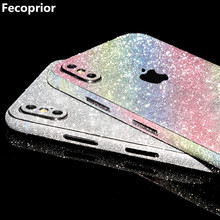 Fecoprior X Sticker Film for iPhone X iPhoneX Case Celular Back Cover Smartphone Shiny Matte Protector Bling Full Decal Glitter(China)