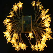 50 LEDs 5M Led lights flashing string lights battery five-pointed star battery lights Christmas wedding small lights decorative