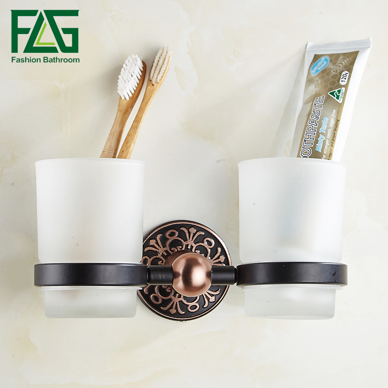 FLG Bathroom Double Glass Cup Holder Wall Mounted Tooth Brush Tumbler Holder Black Space Aluminum Bathroom Accessories<br>