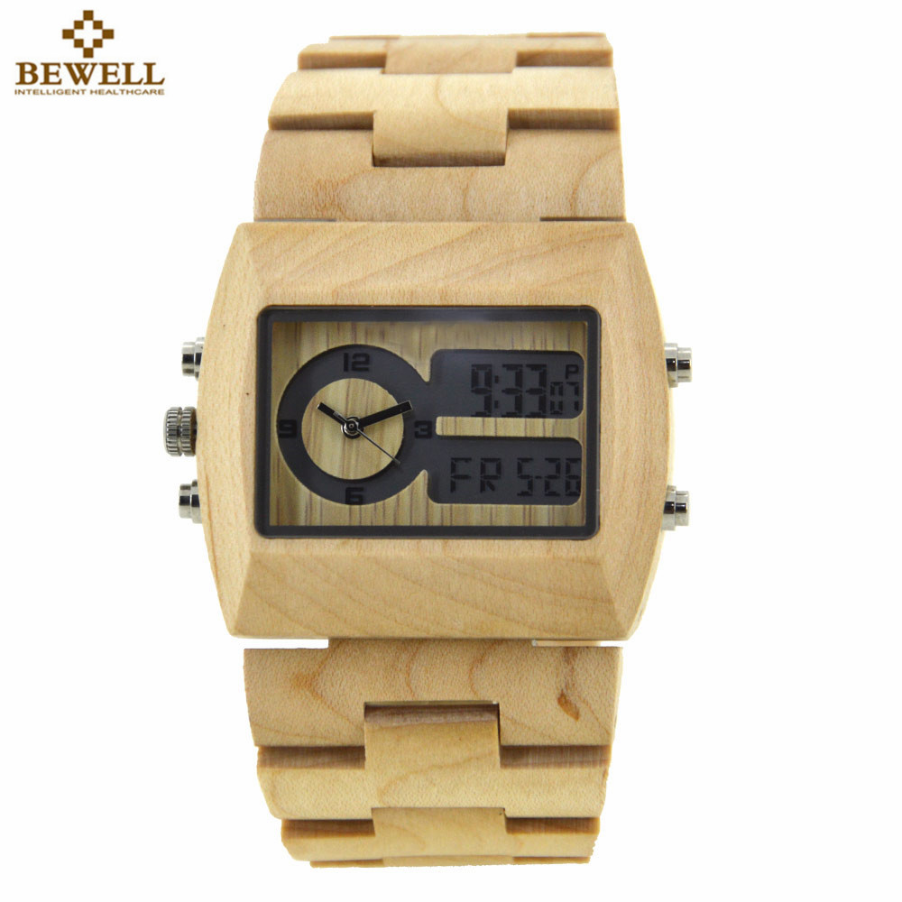 BEWELL Natural Wood Watch Men Quartz Watches Dual Time Zone Wooden Wristwatch Rectangle Dial Relogio LED Digital Watch Box 021A<br>