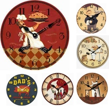 Large Decorative Antique Chef Wall Clocks Wooden Modern Design Kitchen Wall Clock Vintage Restaurant Decor Clock