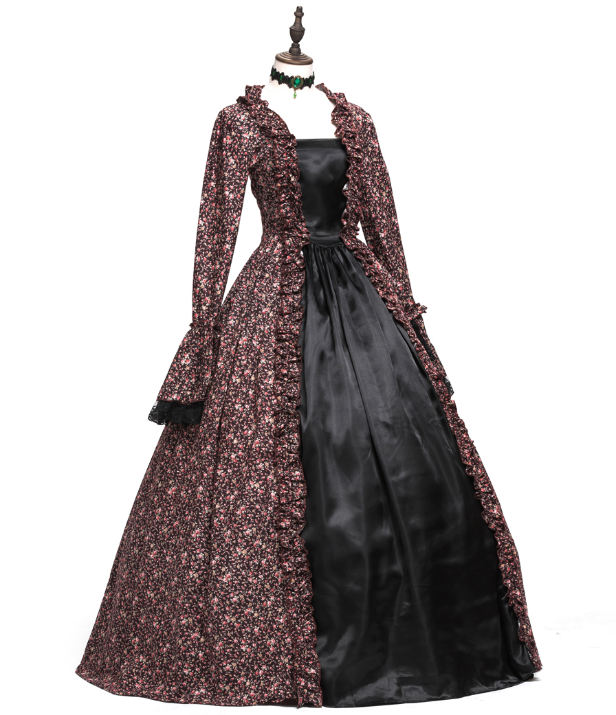 Floral Cotton Rococo Dress Gothic Victorian Dresses  Halloween Prom Gown with Lace