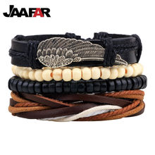 Hot selling 1Set 4pcs Punk Braided Adjustable Leather Bracelets Men For Women Cuff Vintage Jewelry Wholesale Pulseras Hombre(China)