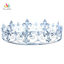 Peacock Star Men's Homecoming Prom Accessories Full Circle Round Silver Color King Crown CT1755(Hong Kong)