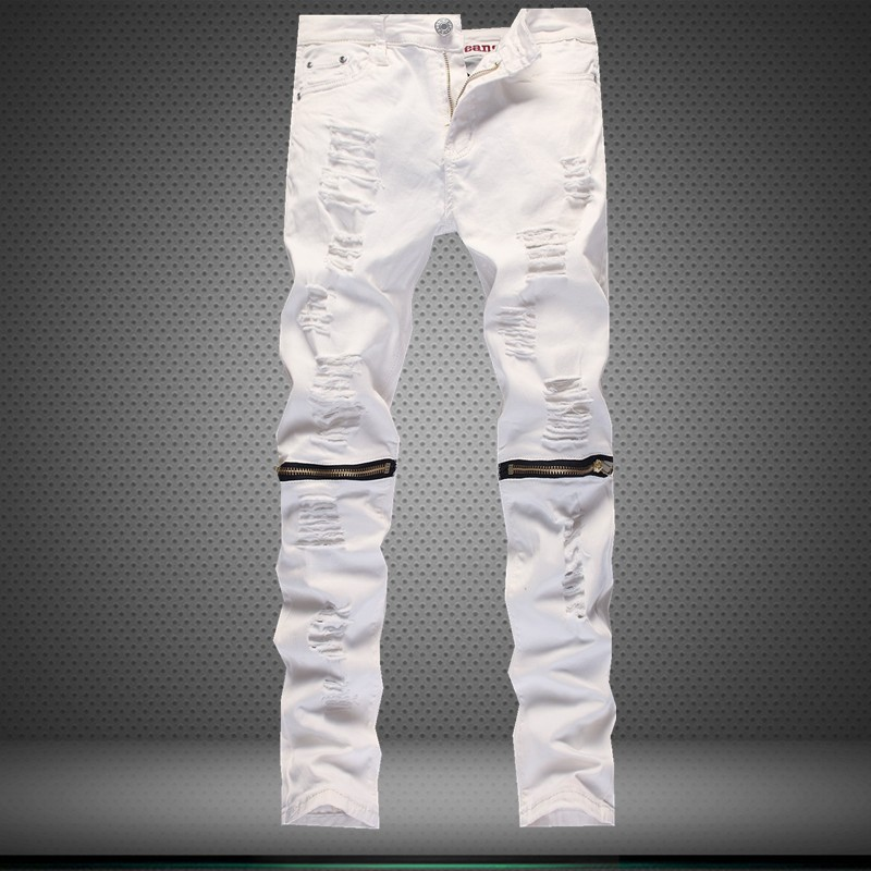 2017 Mens White Black Ripped Hip Hop Hole Casual Denim Torn Jeans Skinny Fashion Slim Designer Classical Pants High Rap QualityОдежда и ак�е��уары<br><br><br>Aliexpress