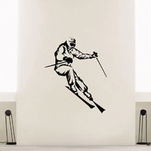 WALL DECAL VINYL STICKER SPORT GYM GIRL SKIER SKIING DECOR