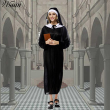 New Arrival Halloween Costumes The Virgin Mary Nun Costume Black Sexy Catholic Nun Cosplay Fancy Dress(China)