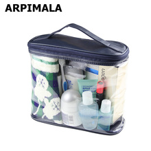 ARPIMALA Transparent Cosmetic Bags PVC Makeup Bags Travel Organizer Necessary Beauty Case Toiletry Bag Bath Wash Make up Box(China)