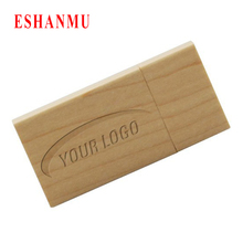 Custom Logo Pendrive Card Usb Flash Drive Wood Pen Drive Gift Usb Stick Real Capacity Disk On Key (Over 20 Pcs Free Logo)