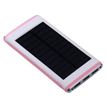 Universal 10000mAh Solar Power Bank 3 USB Port External Battery Pack With LED light for iphone Samsung Huawei Xiaomi