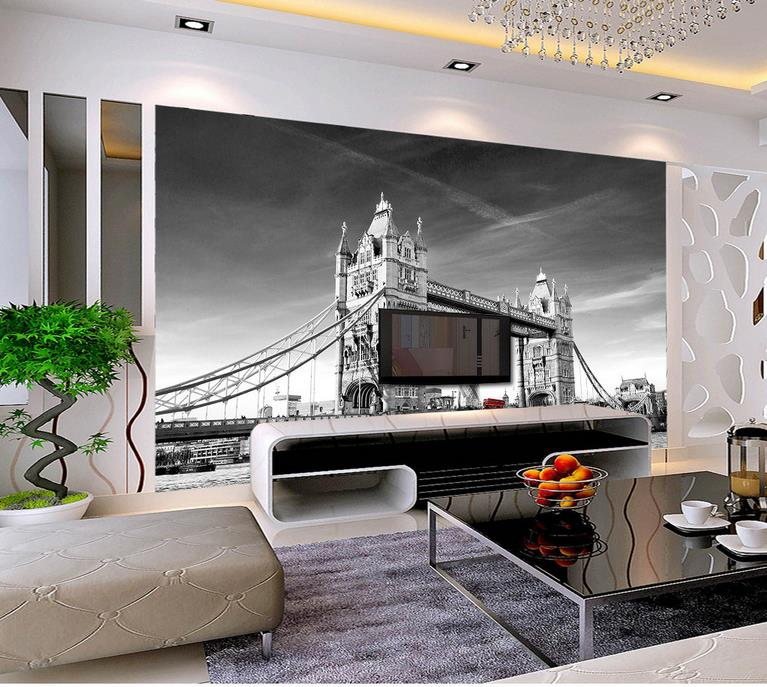 Custom 3d Photo Wallpaper Livingroom Mural Tower Bridge London Scenery  Painting 3D Photo Sofa TV Backdrop Part 54