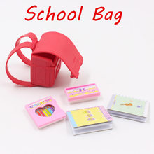 Blyth doll Red School Bag including stationery,suit for the 1/6 30cm BJD(China)