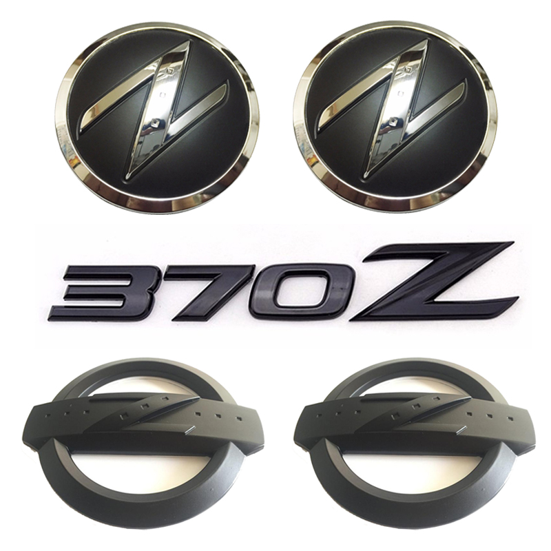 1 set(5x) Black 3D 370 Z Symbol Car Body Front Rear Side Emblem Badge Stickers for NISSAN 370Z Fairlady Z Z34<br>