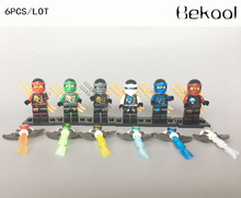 6 X figures Flying Phantom Ninjagoed Toys Ninja NYA KAI Lloyd JAY COLE ZANE building Blocks toys for children decool 10023-10028