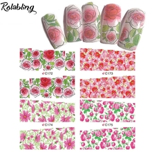 Hot Sale Bright Blooming And Strong Visual Effect Red Flowers Nail Art Water Decals Beauty Accessories For Nail Art