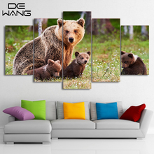 5 Pcs Canvas Wall Picture Print Posters Bear Painting Polar Panda Teddy Black Painting For Living Room With Frame Animal Picture
