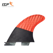 NEW STYLE Carbonfiber Orange Carbon Strip FCS II surfboard Fins Thruster Fin Set (3) Compatible M3 Surf Fin