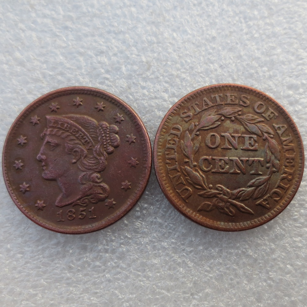 1851 Braided Hair Large / One Cent 100% Copper Manufacturing Old Copy Coins Free