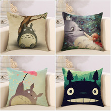 Cute cartoon Lovely Totoro chinchillas throw pillow cover case cotton linen seat cushion cover for car sofa bedroom decorations(China)